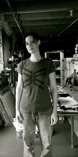 Kara Hendershot in her studio in the Northern Warehouse Artists' Coop, Lowertown.